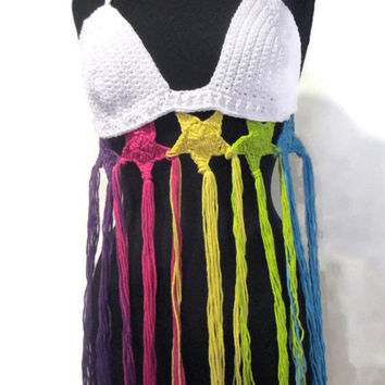 Rainbow five stars and tassels festival top