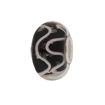 Individuality Beads Sterling Silver Swirl Glass Bead (Black)