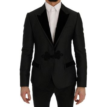Dolce & Gabbana Black Jacquard Slim Fit Blazer Jacket
