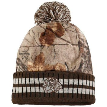 Chicago Blackhawks Old Time Hockey Realtree Xtra Cuffed Knit Hat With Pom