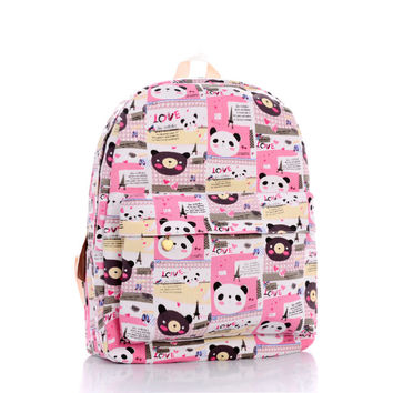Cute Canvas Print Lovely Cartoons Backpack = 4888022148