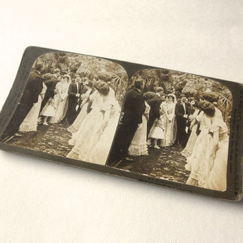 Here comes the Bride 1903 Stereograph Card Wedding Reception Line Antique Sepia Photo Gibson Girls Stereoscopic Stereoview Stereo Card