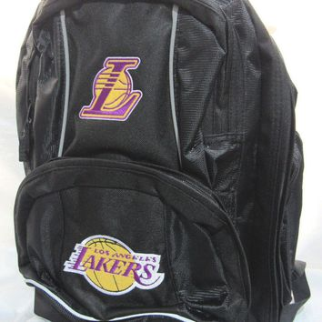 NBA NWT EMBROIDERED ADULT 3 COMPARTMENT BACKPACK - LOS ANGELES LAKERS