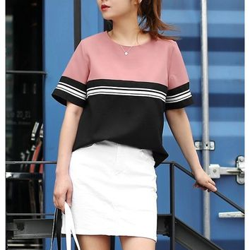 Pink Contrast Striped Tshirts Style Blouses Tops Tees Womens Clothes