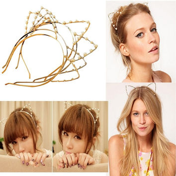 Women Cat Ear Pearl Crystal Rhinestone Head Band Hair Wrap---XIN LAO = 1929964484