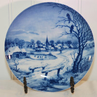 Vintage Limited Edition Christmas Plate (c. 1972) Made In West Germany, Unknown Maker, Blue and White Porcelain Plate, Holiday Decor, Gift