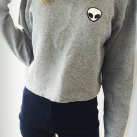 NANCY ALIEN PATCH CROPPED SWEATSHIRT