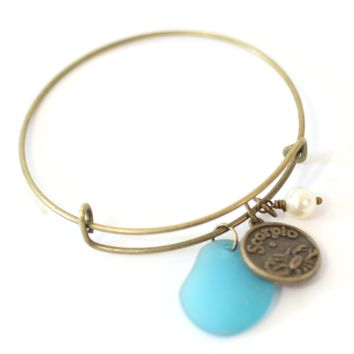 Antique Brass Scorpio Bracelet - Blue Sea Glass, Swarovski Pearl and Antique Bronze - Simple Zodiac Accessory - One Size Fits All - Zodiacharm - Clay Space