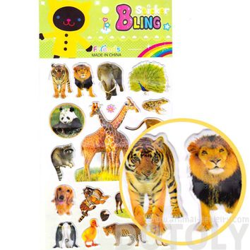 Realistic Raccoon Tiger Elephant Lion Photo Stickers for Scrapbooking