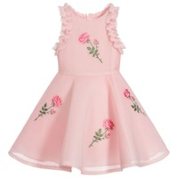 Girls Pink Neoprene Mesh Dress