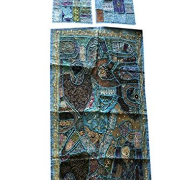 Mogul Interior Blue Decorative Banjara Tapestry With Cushion Cover Patchwork Beaded Wall Hanging Table Throw