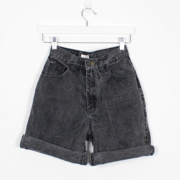 Vintage 90s Shorts High Waisted Denim Shorts Black Denim Shorts London Jean Shorts Mom Shorts 1990s Soft Grunge High Waisted Denim S Small M
