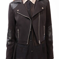 Faux Leather Trimmed Moto Jacket