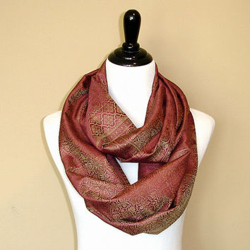 Pink Infinity Scarf: Chunky Silk Circle Scarf, Indian Wrap Scarf, Floral Loop Scarf, Womens Accessories