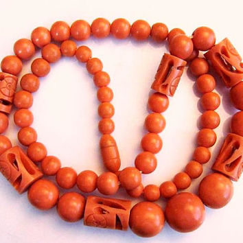 """Coral Beaded Necklace Carved Celluloid Barrel Clasp Single Strand 22"""" Vintage"""
