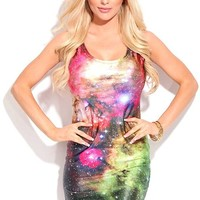 Young Aloud UNIVERSE PRINT SCOOP NECK SLEEVELESS BODY-CON SUBLIMATION DRESS