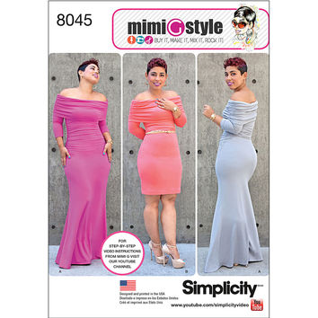 Simplicity Patterns Us8045Aa-Simplicity Miss And Plus Size Knit Dress From Mimi G Style-10-12-14-16-18 | JOANN