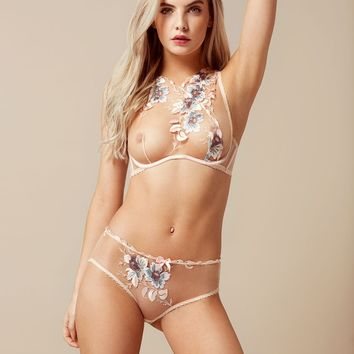 Julie Peach Floral High Neck Bra | By Agent Provocateur