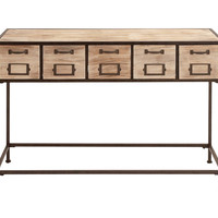 Console Table With Bright Light Wood Finish & Metal Leg