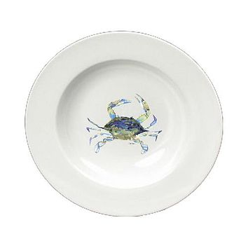 Blue Crab Round Ceramic White Soup Bowl 8656-SBW-825