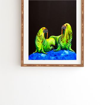 Clara Nilles Wasabi Walruses On Walnut Framed Wall Art