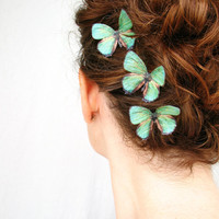 three handmade emerald green silk butterfly hair clips . emerald gypsies . pure dupioni silk
