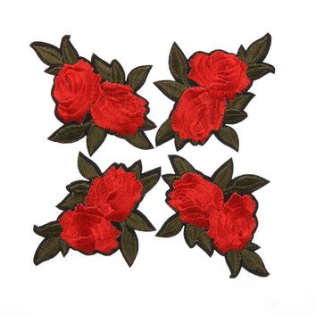 5pcs Red Flower Embroidery Patches Cloth DIY Rose Pattern Sewing Iron on Patch Handmade Craft Decoration