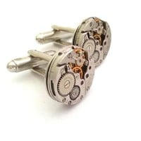 Antique WALTHAM WATCH MOVEMENT CUFFLINKS silver | LC COLLECTION