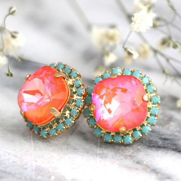 Coral Earrings, Coral Mint Earrings, Orange Stud Earrings, Tangerine Crystal Earrings, Coral Mint Wedding, Bridesmaids Coral Earrings