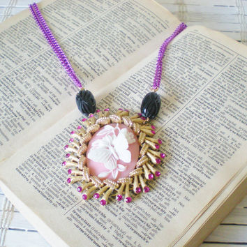 Pink Cameo Butterfly Statement Necklace Bejeweled One of a Kind Fashion by RetroRevivalBoutique