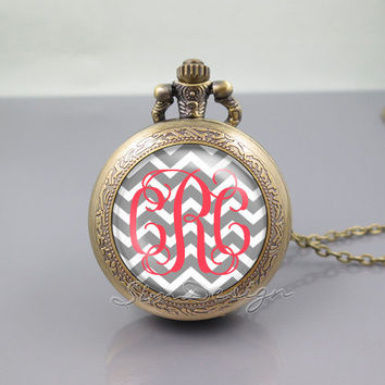 Chevron Monogram Pocket Watch Locket Necklace,vintage gray pendant -ALL Colors Can be changed![Font style,Chevron,Font,Background colors...]