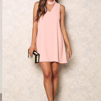 Blush Cut Out Choker Tank Dress