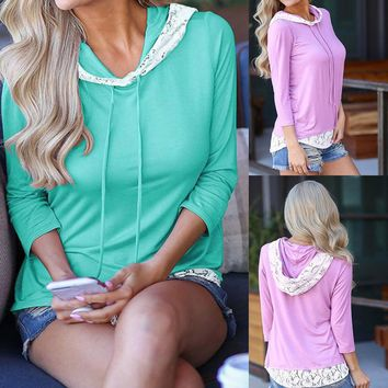 Women's Casual Solid Lace Stitching Hoodie Long Sleeve T-shirt Tops Blouse