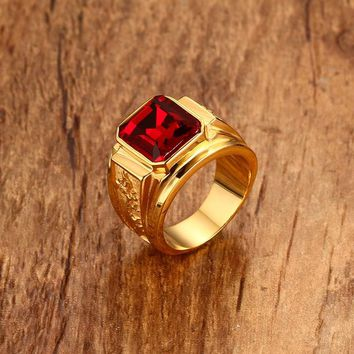 Men's Figment Ring with Red Blue CZ Stone in Gold Tone Stainless Steel Engraved Dragon Men Wedding Bands for Male Jewelry Anel