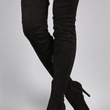 Cape Robbin Black Thigh High Pointed Toe Boots Vegan Suede Stretch Boots
