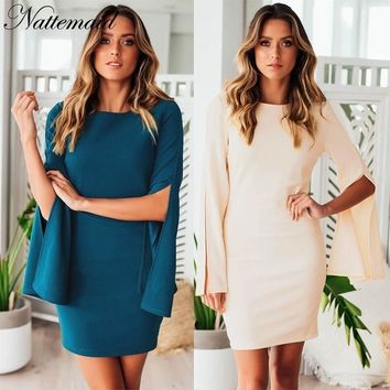 NATTEMAID Full Flare Sleeve 2018 Autumn Winter Dress Female Mini Skinny Bodycon Dress Sexy Club Casual Ladies Blue White Dresses