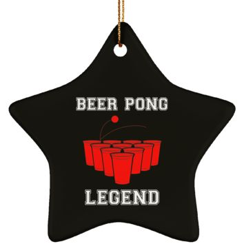 Beer Pong Legend Christmas Ornament Ceramic Heart Shape 3.25 Inches (Black)