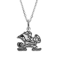 Fiora Sterling Silver Notre Dame Fighting Irish Team Logo Pendant Necklace (Grey)