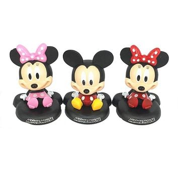 1pcs New 12cm Cartoon anime Minnie mouse doll figure toy Red Mickey Minnie action toys head Shake car toy