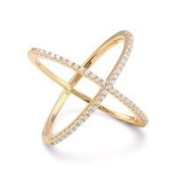 18k Yellow Gold Plated Sterling Silver Criss Cross 'X' Ring