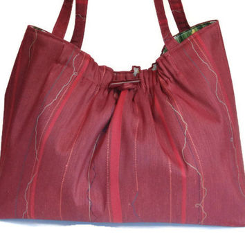 Knitting Project Bag Red Fabric Tote Knitting Organizer