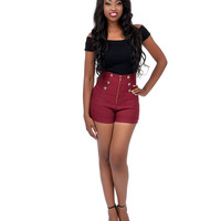 Burgundy High Waist Stretch Shorts