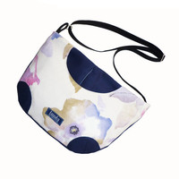 Blue white watercolor pattern purse