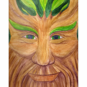 Green Man - Metal Print of Pagan God Watercolor Pencil Fine Art
