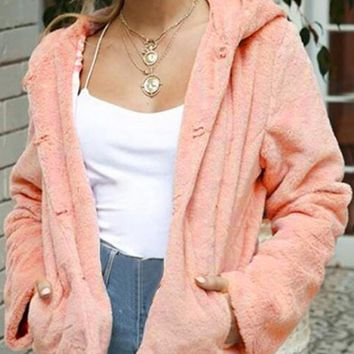 New Pink Pockets Hooded Long Sleeve Casual Faux Fur Coat