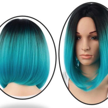 Ombre Blue Wig