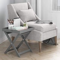 "18"" Folding Tray Side Table, Grey By Furinno"