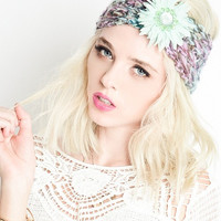 Knit Headwrap with Deco Flower