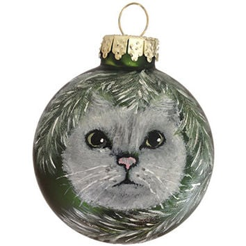 Hand-painted Christmas Ornament Glass Ball Kitty Cat
