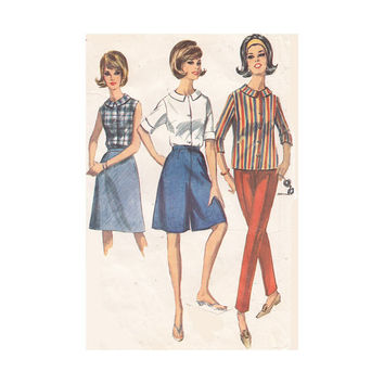 Misses Culottes, Blouse, Skirt and Skinny Slacks Simplicity 6044 Bust 32 Sleeveless or Set in Sleeves Vintage 1960s Pattern